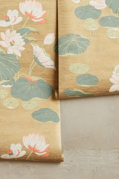Lily Pad wallpaper in gold from Anthropologie