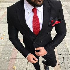 mens_fashion - Double Breasted Black Men Suits for Wedding Groom Tuxedos Two Piece Sl myshoponline com Mens Fashion Suits, Mens Suits, Terno Slim, Moda Formal, Formal Shirts For Men, Wedding Suits, Wedding Groom, Dapper Men, Suit And Tie