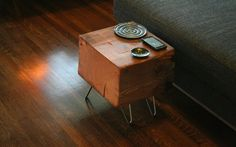 koan mini coffee table with hairpin legs - reclaimed old growth, modern industrial - deep forest raw beauty. $235.00, via Etsy.