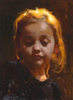 """Daydream"" - Michael Malm {contemporary figurative artist blonde young girl with eyes closed portrait painting}"