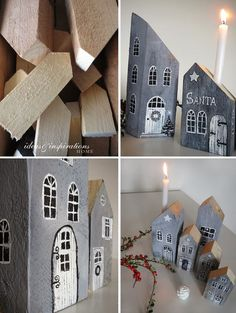 Wooden crafts, christmas inspiration, diy for kids, little houses, home cra Wooden Crafts, Diy And Crafts, Small Wooden House, Sweden House, Creation Deco, Kids Wood, Christmas Villages, Little Houses, Christmas Inspiration