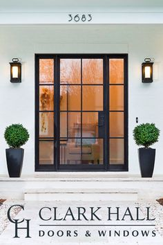 Custom iron front doors transform the design of any entrance. With large side lights with glass panels and windows to let in all the natural light, this modern, contemporary entry takes all of your exterior door ideas to the next level. Custom Front Doors, House Front, Windows And Doors, Contemporary Front Doors, House Exterior, French Doors Exterior, Exterior Design, Front Door Design, Doors