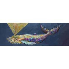 """GreenBox Art 'Jeweled Whale Spray' by Eli Halpin Print of Painting on Canvas in Wisteria Size: 24"""" H x 72"""" W x 1.5"""" D"""