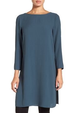 Main Image - Eileen Fisher Bateau Neck Silk Crepe Tunic (Regular & Petite)