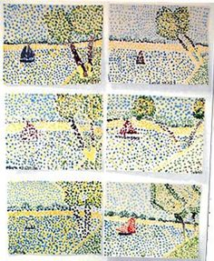 Using Q-tips, kids can make their own pointillism paintings in the style of Georges Seurat.