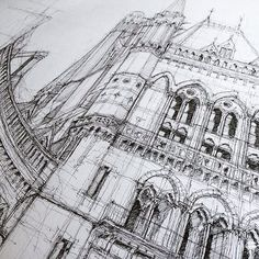 Wonderful drawing of St Pancras station in London by @lukeadamhawker  Tag #ArchiSketcher for a chance to be featured