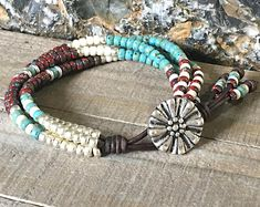 ORIGINAL DESIGNER Beaded Leather Wrap Bracelet For Women/ Seed Bead Wrap Bracelet/ Gifts For Her/ Bohemian Bracelet/ Boho Wrap Bracelet.