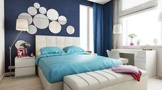 Вся квартира выдержана в белом цвете с акцентах в деталях. Темно-синий, бирюзовый и фуксия стали основными акцентами в текстиле и декоре.