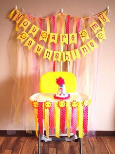 You are my Sunshine Birthday Party  Banners, Letterings , wall decorations, pin wheels, pompoms and many more decoration ideas!     You Are My Sunshine Birthday Party Ideas | Meowchie's Hideout