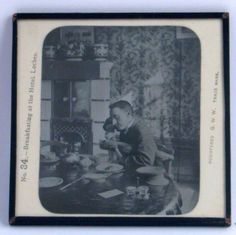 Antique Magic Lantern Glass Slide - Gent Breakfasting In Hotel, Loches, France