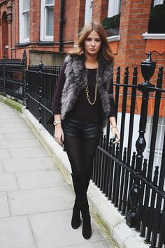 TIGHTS – RIVER ISLAND BOOTS – RUSSEL & BROMLEY SHORTS – TOPSHOP JUMPER – SANDRO FUR GILLET – ZARA NECKLACE, RING AND BRACELET – TATEOSSIAN BAG – DUNE