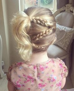 Side Ponytail With Braids For Little Girls