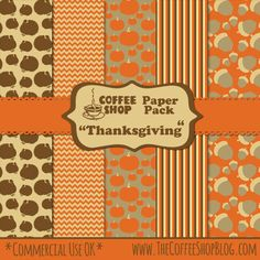 "The CoffeeShop Blog: CoffeeShop ""Thanksgiving"" Digital Paper Pack!"