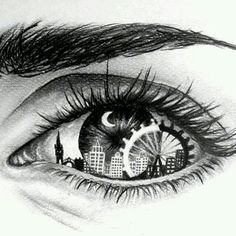 Eye Art with skyline & Ferris wheel Amazing Drawings, Cool Drawings, Amazing Art, Dancing Drawings, Unique Drawings, Pretty Drawings, Drawings Of Angels, Creative Drawing Ideas, Realistic Eye Drawing