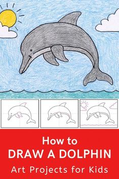 Learn how to draw a dolphin with this fun and easy art project for kids. Simple step by step tutorial available. Dolphin Drawing, Dolphin Painting, Painting For Kids, Rock Painting, Easy Drawings For Kids, Drawing For Kids, Dolphins For Kids, Baby Dolphins, Miami Dolphins
