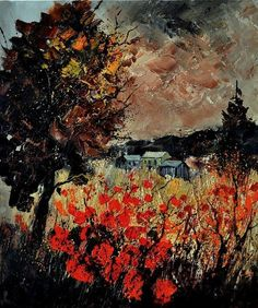 Artwork >> Pol Ledent >> fall in the Ardennes #artwork, #masterpiece, #painting, #contemporary, #art, #nature, #flowers