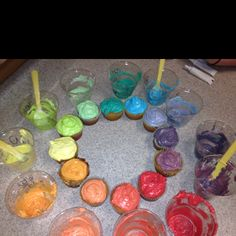 Color wheel cupcakes in my fashion class!