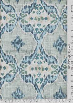 Blue, Green, Grey and Ivory Ikat Curtain Panels / Custom Drapery in Designer Fabric by StitchandBrush on Etsy https://www.etsy.com/listing/203124383/blue-green-grey-and-ivory-ikat-curtain