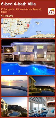 Villa for Sale in El Campello, Alicante (Costa Blanca), Spain with 6 bedrooms, 4 bathrooms - A Spanish Life Murcia, Valencia, Double Glass Doors, Walk In Wardrobe, Beautiful Pools, Wooden Decks, Spacious Living Room, Double Bedroom, Luxury Villa