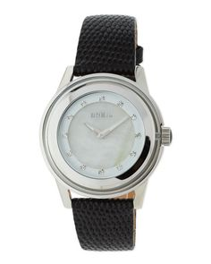 Orchestra Mother-of-Pearl Leather Watch, Black