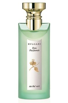 Eau Parfumee au The Vert Bvlgari. The nose behind this fragrance is Jean-Claude Ellena. Top notes are coriander, orange blossom, mandarin orange, bergamot, cardamom and lemon; middle notes are jasmine, lily-of-the-valley and bulgarian rose; base notes are sandalwood, amber, musk, green tea, precious woods and cedar.