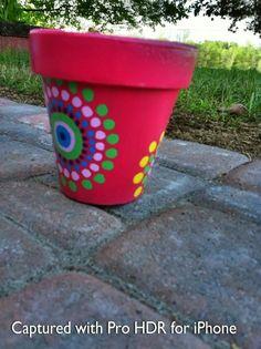 Hand Painted Flower Pot.