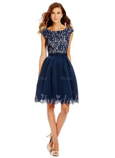 63717c91ea2 I have this dress and would add a pop of color to accessorize.——Eliza J  Illusion Lace Bodice Boat Neck Fit-and-Flare Dress
