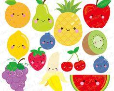 Kawaii frutas imágenes prediseñadas, Linda fruta Clip Art, clipart de alimentos (CG209)