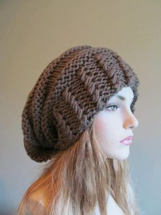 Slouchy Beanie Slouch Hats Oversized Baggy Beret Button womens fall winter  accessory Taupe Grey Super Chunky Hand Made Knit e6aa2357000