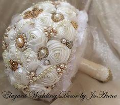 VINTAGE GOLD Jeweled Bouquet Custom Vintage by Elegantweddingdecor