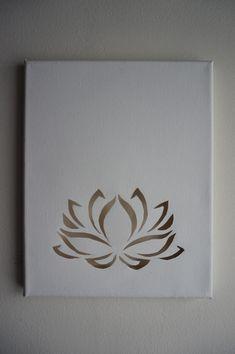 Lotus flower cutout on blank canvas