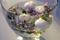 Ideen für Hausdekoration mit Lavendel - Kerze im  Wasser