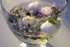 Float scentless candles in lavender water for a soothing smell.