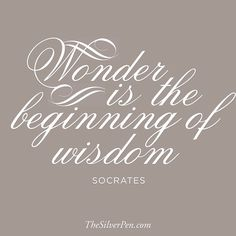 Love this quote from Socrates. How true it is! Have a WONDER-filled day!