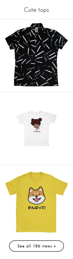 """""""Cute tops"""" by jungshook ❤ liked on Polyvore featuring tops, shirts, clothing - ss tops, cotton shirts, button up shirts, short sleeve button down shirts, button down top, short sleeve cotton tops, t-shirts and graphic print t shirts"""
