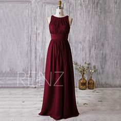 2016 Wine Red Bridesmaid Dress, Scoop Neck Wedding Dress, Long Maxi Dress, Prom Dress, Women Formal Dress, Evening Gown Floor Length (H179A) by RenzRags on Etsy https://www.etsy.com/listing/275261936/2016-wine-red-bridesmaid-dress-scoop
