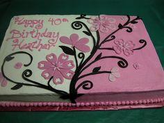 Pink and Black Flowered Sheet cake Birthday Sheet Cakes, Birthday Cakes For Women, Sheet Cakes Decorated, Sheet Cake Designs, Slab Cake, Cake Borders, Cake Writing, Spring Cake, Cake Decorating Techniques