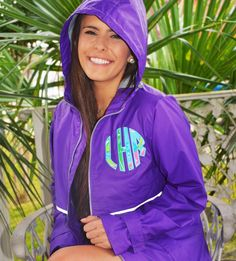 Monogrammed rain jacket with Lilly Pulitzer fabric, monogram jacket, rain jacket, by TantrumEmbroidery on Etsy