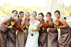 Bright color bouquets- oranges, red, yellow, greens and bride with white and green bouquet by www.CreationsbyDebbie.net