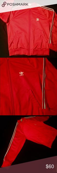 🖤❤️Red Adidas Zip Up Jacket❤️🖤Large 🖤❤️Red Adidas Zip Up Jacket❤️🖤Large. Worn only a few times. Good condition. Not to thick or warm adidas Sweaters Zip Up