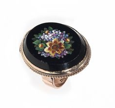19th Century Gold Italian Micromosaic Flower Ring | From a unique collection of vintage more rings at https://www.1stdibs.com/jewelry/rings/more-rings/