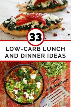 A list of 33 delicious low-carb lunch and dinner ideas to help you follow a low-carb eating pattern. Each recipe includes detailed nutrition facts. See it here: http://www.dietvsdisease.org/33-low-carb-lunch-and-dinner-ideas/