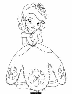 cute princess sofia disney coloring pages printable and coloring book to print for free. Find more coloring pages online for kids and adults of cute princess sofia disney coloring pages to print. Princess Coloring Sheets, Disney Coloring Sheets, Disney Princess Coloring Pages, Disney Princess Colors, Princess Cartoon, Disney Colors, Coloring Pages For Girls, Cartoon Coloring Pages, Coloring Pages To Print
