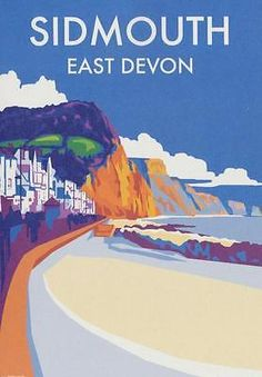 Sidmouth east devon art deco #railway #poster 1930s #style birthday card, View more on the LINK: http://www.zeppy.io/product/gb/2/172268575184/