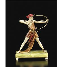 Ferdinand Preiss (1882 - 1943) ARCHER (DIANA) cold painted bronze and ivory, modelled as a lithe young woman holding bow and arrow, raised on a rectangular onyx base mounted on a bronze plate with ivory ball feet base marked 'F. Preiss.'