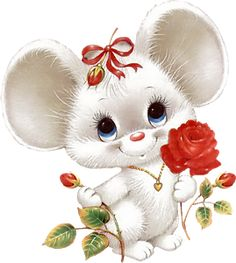 Cute Mouse with Red Rose - love, Valentine's Day, Mother's Day, Anniversary --- I'm not sure if this one will work well in CW because of all the white, but it I figure doesn't hurt to pin it for anyone who wants to try. Illustration Mignonne, Cute Illustration, Decoupage Vintage, Cute Images, Cute Pictures, Animal Set, Art Mignon, Clip Art, Cute Mouse