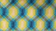 Crochet color pooling using Caron Jumbo in Seaside Ombre: 10 rows of stacked pooling, 16 rows of diagonal offset by one stitch