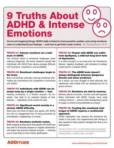 ADHA and Intense Emotions When most people think of ADHD, they think of hyperactive behavior or difficulties paying attention. What often doesn't spring to mind are intense emotional ups and downs. Adhd Odd, Adhd And Autism, Adhd Brain, Adhd Help, Adhd Diet, Adhd Strategies, Adult Adhd, Stress, Mental Health