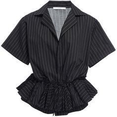 Tome     Ruffled Drawstring Shirt (7.827.225 IDR) ❤ liked on Polyvore featuring tops, stripe, ruffle top, cinch shirts, cinched waist top, striped top and drawstring shirt