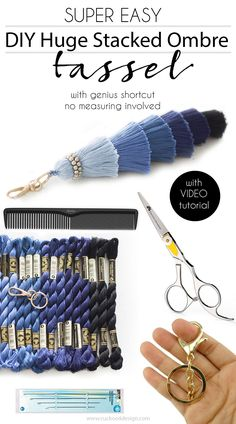 DIY huge stacked ombre tassel with genius shortcut. No measuring involved! Video tutorial included - tassel DIY
